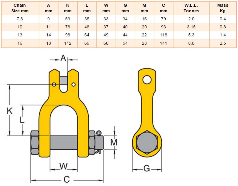 Grade 80 clevis shackle for Cucinare a 80 gradi